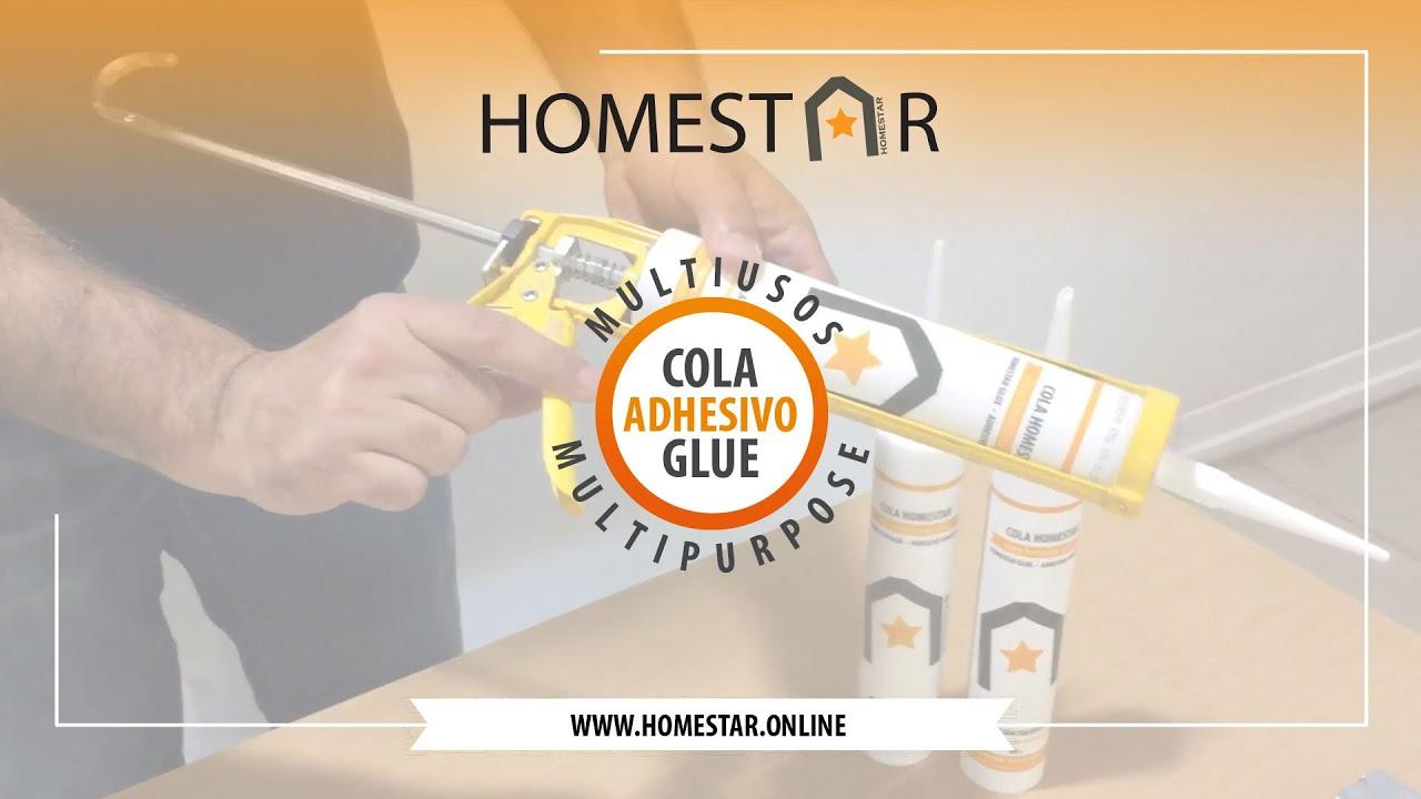 Cola Cartucho Multiusos HOMESTAR®️ Poliestireno Poliuretano PVC Madeira Cerâmica Gesso Cortiça Pedra